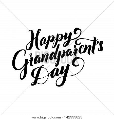 Happy Grandparents Day Calligraphy Poster on White Background.