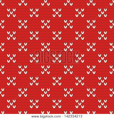 Tile red and white knitting vector pattern or winter background
