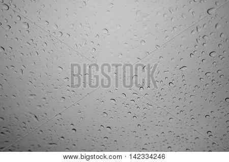 wate drop of rain on a glass