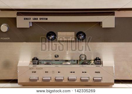 Old Tape recorder. Retro Cassette mechanism, close up