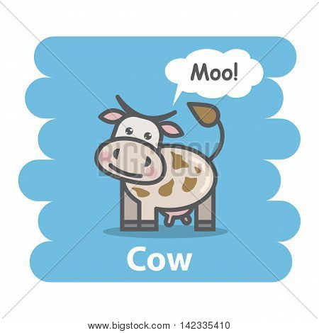 Cow vector illustration on isolated background.Cute Cartoon cow farm animal character speak Moo on a speech bubble.From the series what the say animals