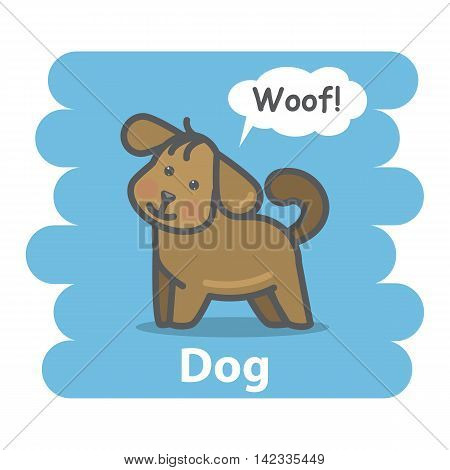 Dog vector illustration on isolated background.Cute Cartoon dog domestic animal character speak Woof on a speech bubble.From the series what the say animals
