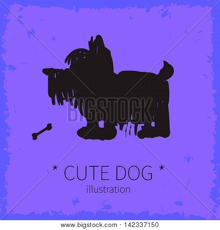 Vector illustration. Cute dog on a purple background.