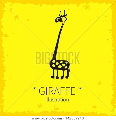 Vector illustration. Cute giraffe on a yellow background.