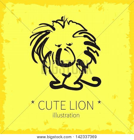 Vector illustration. Cute lion on a yellow background.