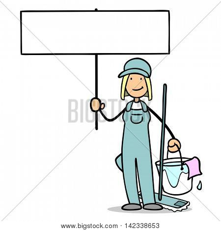 Cartoon cleaning lady holding up blank sign