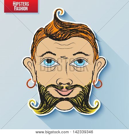 Vector cartoon image of the human head on the hipster fashion painted by hand. Styling and creative style exaggeration