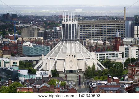 LIVERPOOL ,ENGLAND, JULY 2. The Metropolitan Cathedral on July 2, 2016, in Liverpool, England. Liverpool landmarks include the Metropolitan Cathedral of Christ the KIng and Liverpool Science Park.
