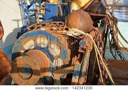 Rusty old winch on a fishing trawler