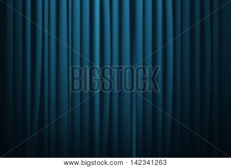 Theatrical background. Blue drape curtains. Cinema theater opera house. Vector