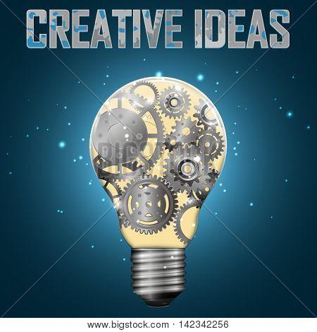 Light bulb with gears inside vector illustration.
