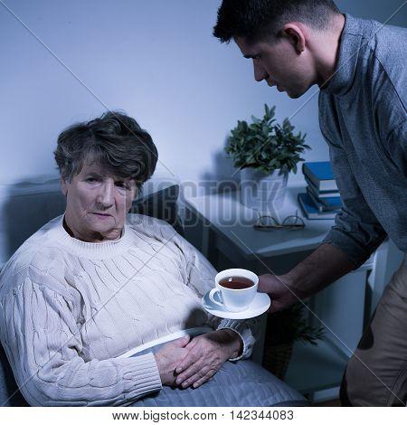 Depressed Senior Woman With Alzheimer