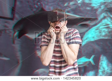 3D Simulation Concept. Man Is Wearing Virtual Reality Headset An