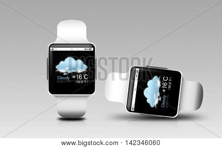 modern technology, weather cast, object, responsive design and media concept - smart watches with meteo forecast on screen over gray background
