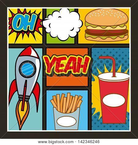 fast food pop art design, vector illustration eps10