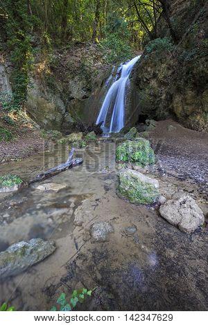 Waterfalls of the Menotre in Altolina Park in Foligno Italy.