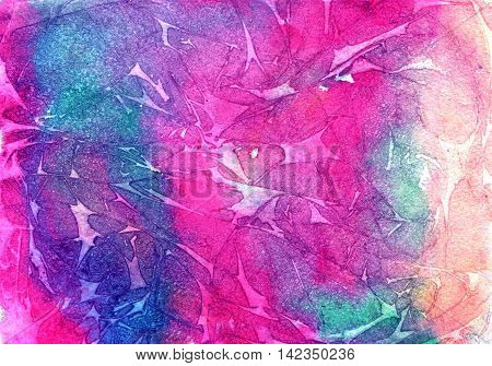 Watercolor bright violet, purple, blue and crimson colors background, colorful texture of watercolor paper