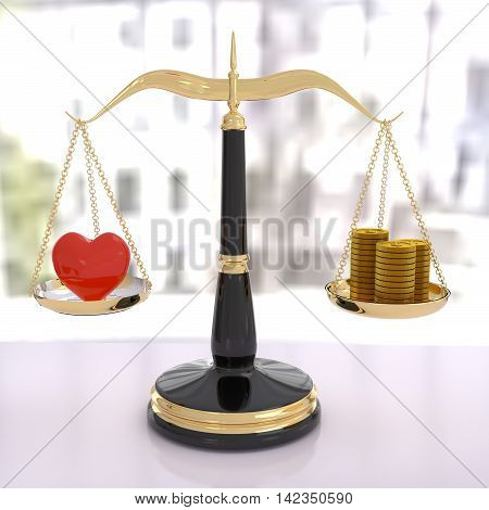 3D rendering of a balance scale of love and money