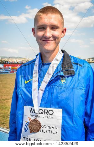 NIKITIN Dmytro during medal ceremony High Jump Boys at the European Athletics Youth Championships in the Athletics Stadium Tbilisi Georgia 16 July 2016