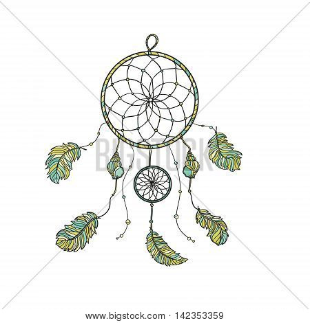 Hand drawn native Indian-American dream catcher. Zentangle isolated dream catcher. Boho styled. Vector.