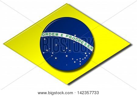 Brazil flag emblem with a bevel effect on an isolated white background with a clipping path