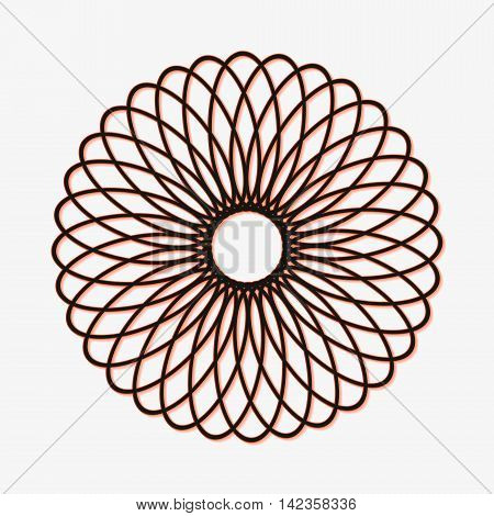Abstract spirograph element. Concentric circles with intersecting outlines.