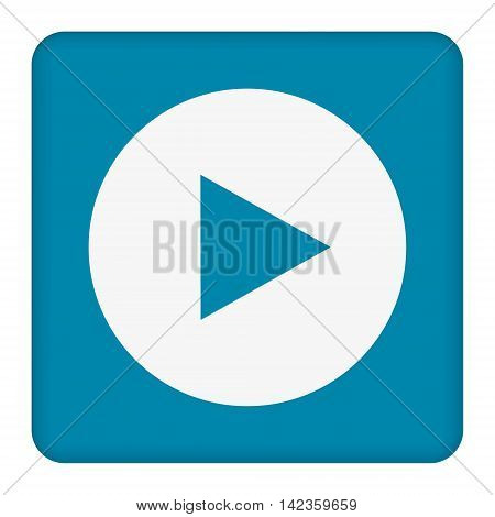 White play button vector icon. white   circle. Blue button