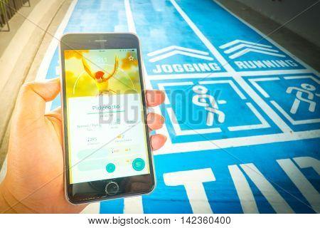 Bangkok, Thailand – August 12,2016: Pokemon Go Mobile Game App