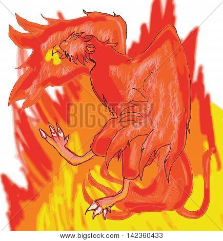 Digital drawing of Phoenix setting itself ablaze during the process of it's reanimation where it resurrects itself from ashes after the process