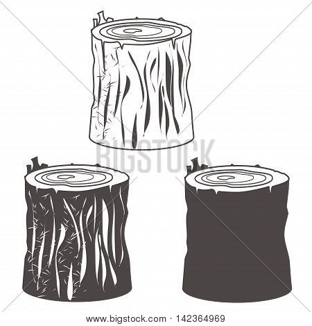 Stump black and white silhouettes set vector illustration. eps10
