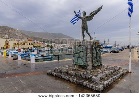 Kalymnos island, Dodecanese, Greece - May 14, 2016: A view of a port in Kalymnos island.