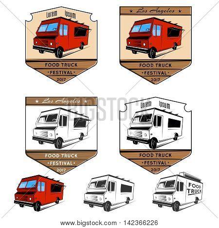 Set of food truck festival emblems. Vector illustration.