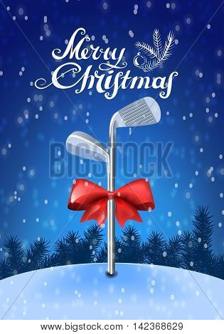 Golf sticks tied with a red bow inserted in the snow on a blue background with snowflakes and greeting text. Colorful vector illustration