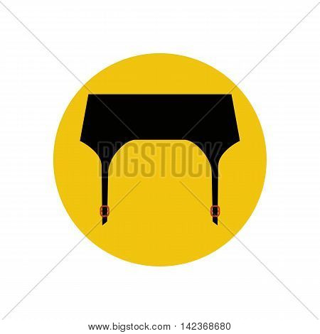 Garter belt illustration on the yellow background. Vector illustration