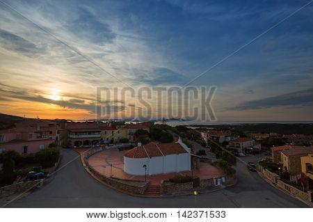 Panorama with SunDown on Sardinia coast. Costa Smeralda (Italy)