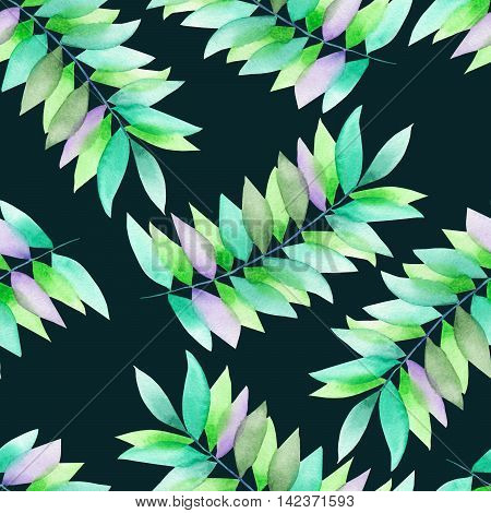 A seamless floral pattern with the green and violet leaves on the branches, hand-drawn in a watercolor on a dark green background