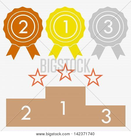 Colorful podium with numbers into stars. Pedestal place winners stand podium