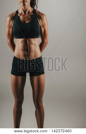 Fit Woman With Strong Abdominal Muscles