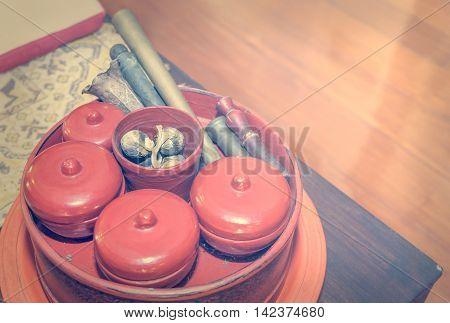 Asian red Vintage Tobacco making Tray Set