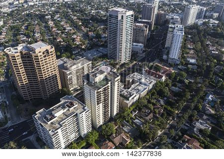 Los Angeles, California, USA - August 6, 2016:  Aerial view of highrise condos and apartments along the Wilshire corridor in West Los Angeles.