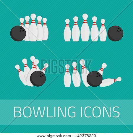 Set of bowling icons in flat design style. Trendy design elements, isolated on white background. Bowling ball and bowling pins illustration.