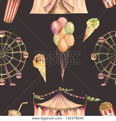 A seamless pattern with the watercolor circus hand drawn elements: air balloons, pop corn, circus tent (marquee), ice cream and  Ferris wheel. Painted on a dark background.