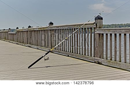 Fishing Pole On Pier
