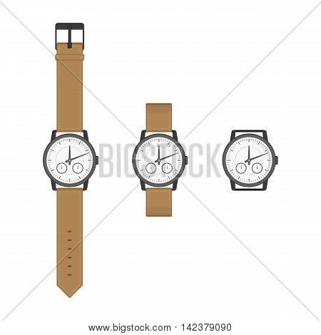 Black wrist watches with brown strap in classic design. Isolated clocks icon in flat style. Vector collection realistic watch on a white background.
