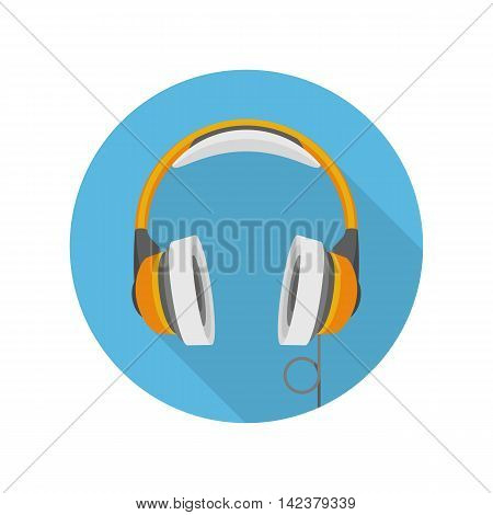 Vector Headphones Icon whit long shadow. Music, technology or sound and audio concept.