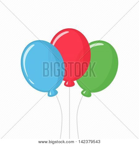 Vector illustration of collorful balloons isolated icon on white background. Three colorful balloons in flat style. Three birthday air balloon with rope.