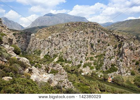 Landscape of Crete mountain near Preveli, Greece