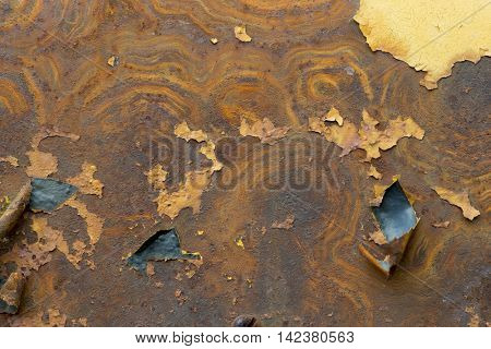 Rust texture on peeled flaked chipped painted metal grunge background backdrop