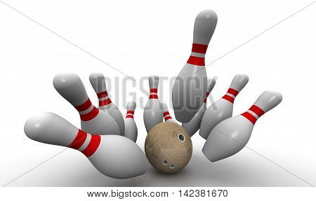Strike. Bowling ball knocks down all the pins. Bowling ball and skittles are on the white surface. Isolated. 3D Illustration