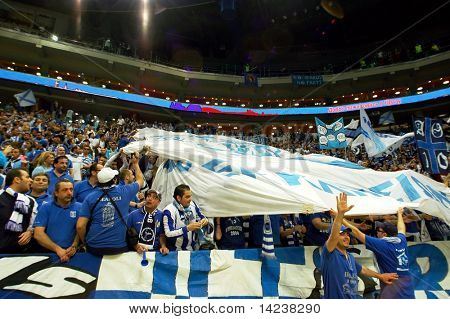 PRAGUE, CZECH REPUBLIC - APRIL 5: Iraklis team supporters watch the volleyball game of Final Four CEV Indesit Champions League at O2 Arena in Prague, April 5, 2009